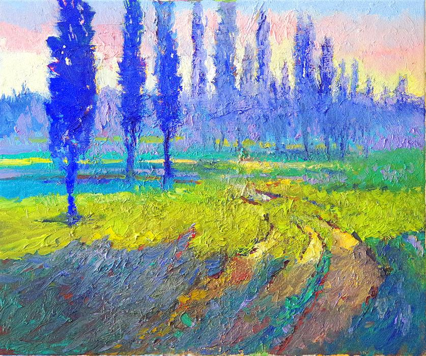 Original art for sale at UGallery.com | Blue Poplars and Green Fields (Morning) by SUREN NERSISYAN | $475 | Oil painting | 16' h x 20' w | ..\art\oil-painting-Blue-Poplars-and-Green-Fields-Morning