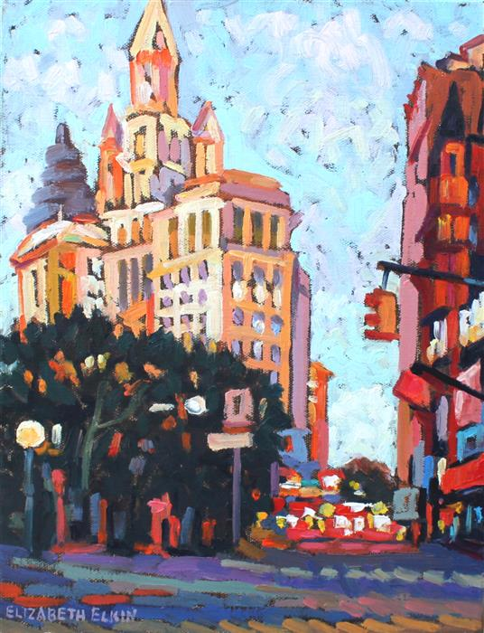 Original art for sale at UGallery.com | NYC at Evening Time by ELIZABETH ELKIN | $675 | Oil painting | 14' h x 11' w | ..\art\oil-painting-NYC-at-Evening-Time