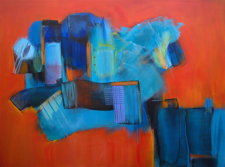 Original art for sale at UGallery.com | Tangerine Dream #2 by NICHOLAS FOSCHI | $3,725 |  | 36' h x 48' w | ..\art\acrylic-painting-Tangerine-Dream-2