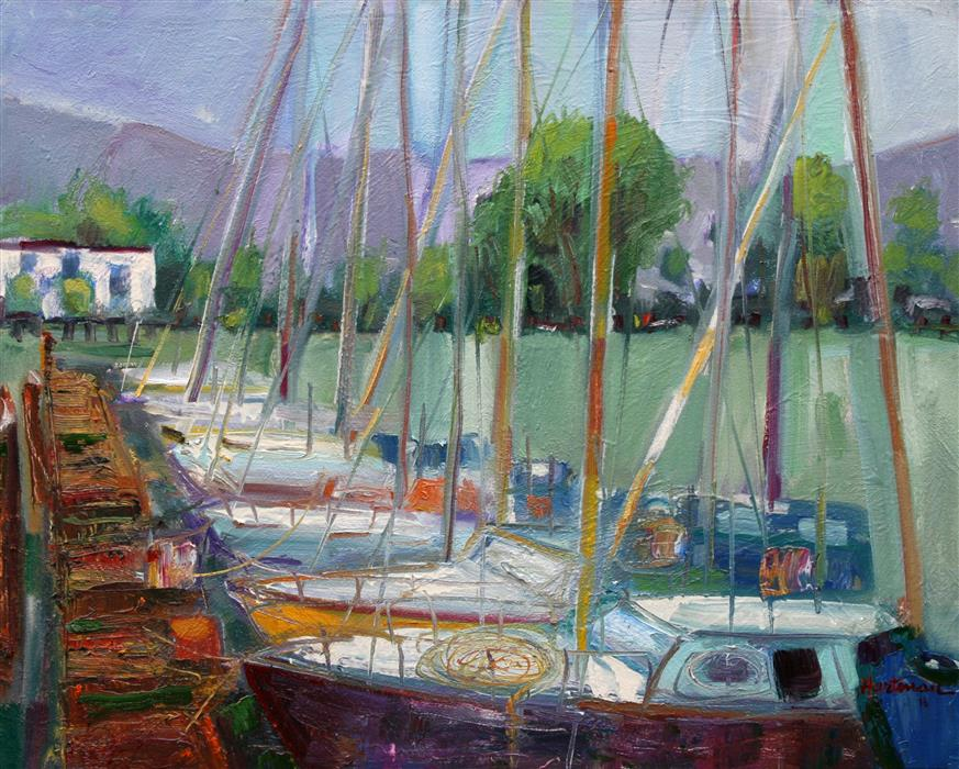 Original art for sale at UGallery.com | Alameda Boats by JAMES HARTMAN | $1,200 |  | 24' h x 30' w | ..\art\oil-painting-Alameda-Boats