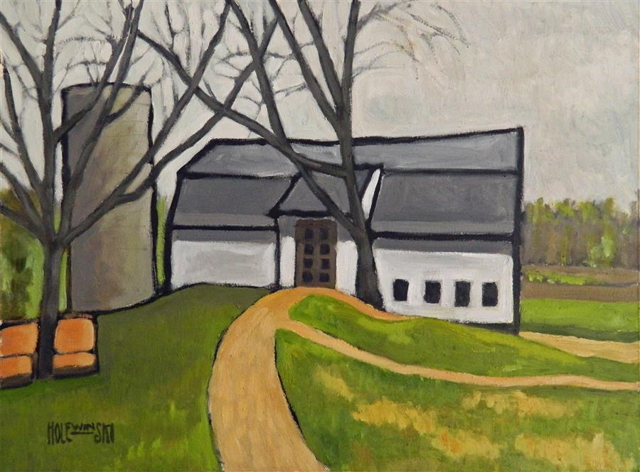 Original art for sale at UGallery.com | Barn with Two Trees by ROBERT  HOLEWINSKI | $1,175 | Oil painting | 17' h x 23' w | ..\art\oil-painting-Barn-with-Two-Trees
