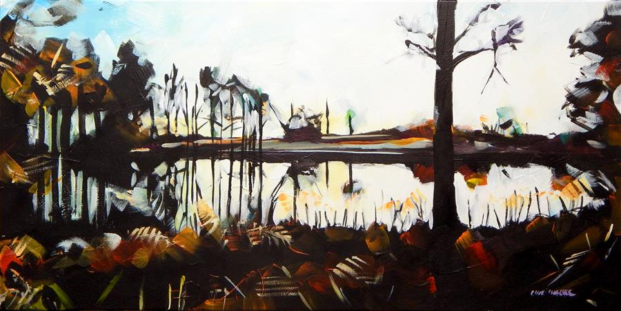 Original art for sale at UGallery.com | Pond Sunset by CHRIS WAGNER | $725 |  | 15' h x 30' w | ..\art\acrylic-painting-Pond-Sunset