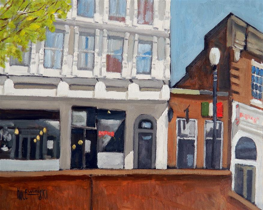 Original art for sale at UGallery.com | The Corner in Charlottesville by ROBERT  HOLEWINSKI | $1,425 |  | 15' h x 18.75' w | ..\art\oil-painting-The-Corner-in-Charlottesville