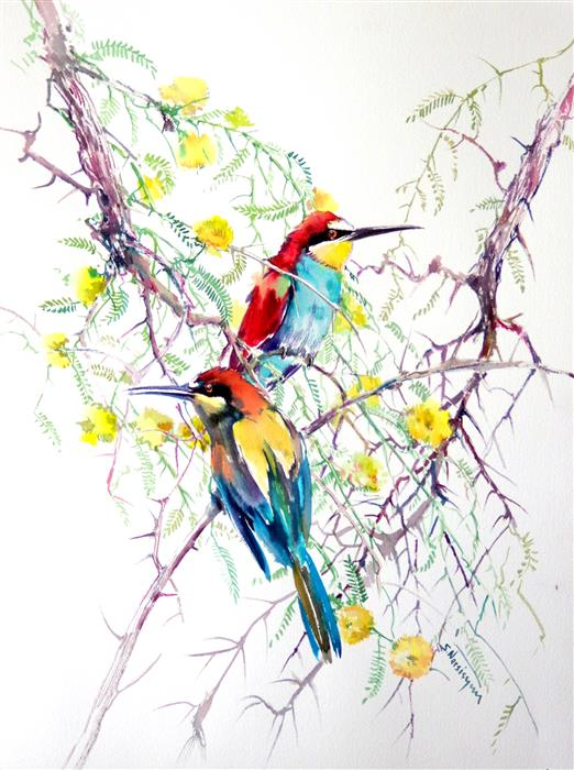 Original art for sale at UGallery.com | European Bee Eaters and Acacia by SUREN NERSISYAN | $500 |  | 24' h x 18' w | ..\art\watercolor-painting-European-Bee-Eaters-and-Acacia