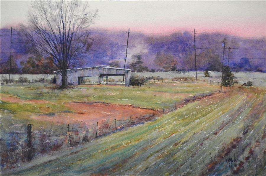Original art for sale at UGallery.com | The Gloaming by JUDY MUDD | $975 | Watercolor painting | 14' h x 20' w | ..\art\watercolor-painting-The-Gloaming