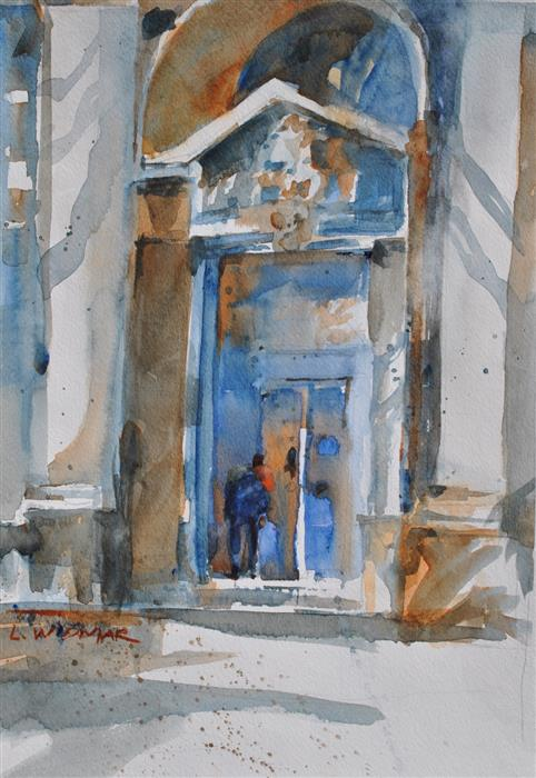 Original art for sale at UGallery.com | Door to Antiquities by LANIE WIDMAR | $575 |  | 16' h x 11' w | ..\art\watercolor-painting-Door-to-Antiquities