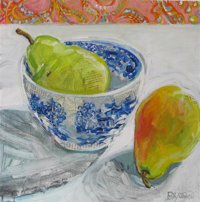 Original art for sale at UGallery.com | Blue Willow Pear by Polly Jones | $400 | mixed media artwork | 14' h x 14' w | ..\art\mixed-media-artwork-Blue-Willow-Pear