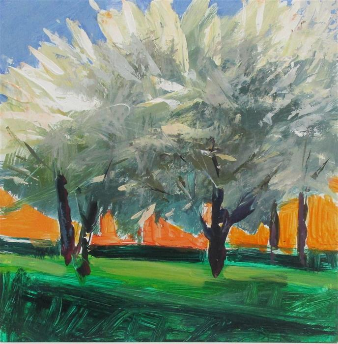 Original art for sale at UGallery.com | Trees in Bloom by Good Samaritan by JANET DYER | $525 | Acrylic painting | 12' h x 12' w | ..\art\acrylic-painting-Trees-in-Bloom-by-Good-Samaritan