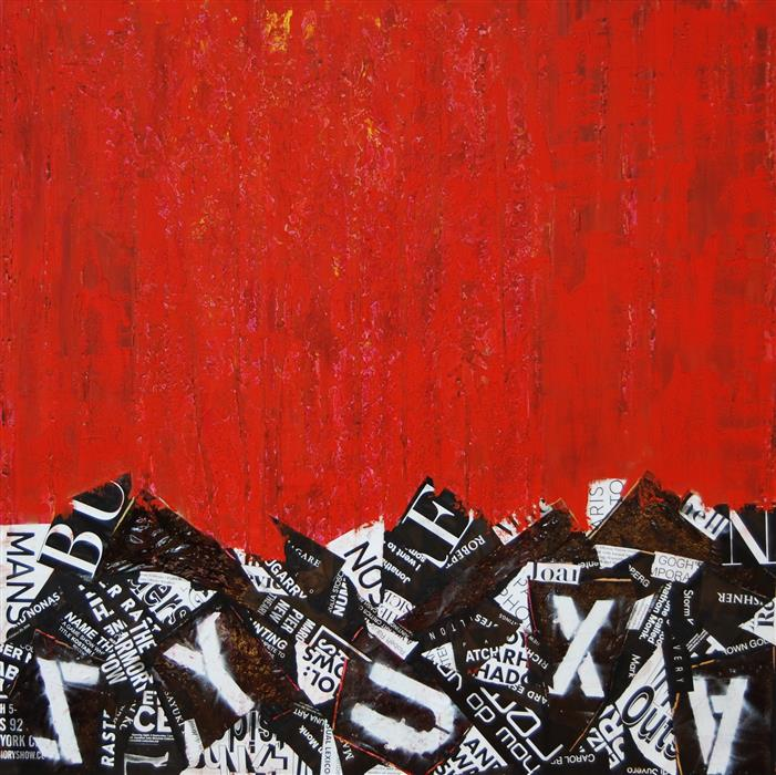 Original art for sale at UGallery.com | Red Abstract G by JANET HAMILTON | $3,300 | Mixed media artwork | 48' h x 48' w | ..\art\mixed-media-artwork-Red-Abstract-G-43977