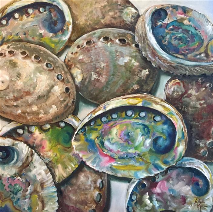 Original art for sale at UGallery.com | Abalone Shells by Kristine Kainer | $2,075 | oil painting | 24' h x 24' w | ..\art\oil-painting-Abalone-Shells