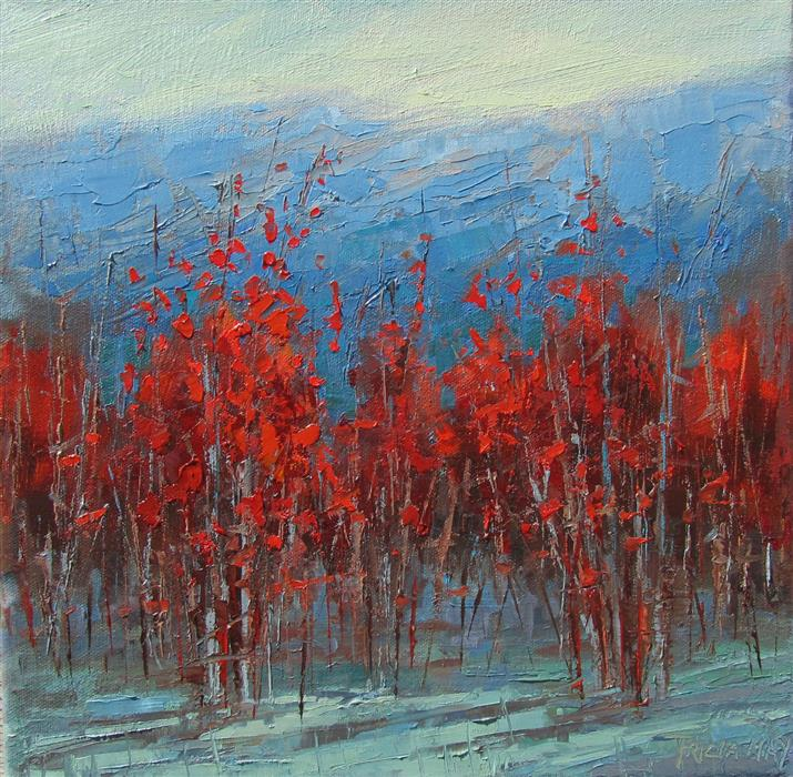 Original art for sale at UGallery.com | Crimson Landscape #2 by TRICIA MAY | $500 |  | 12' h x 12' w | ..\art\oil-painting-Crimson-Landscape-2