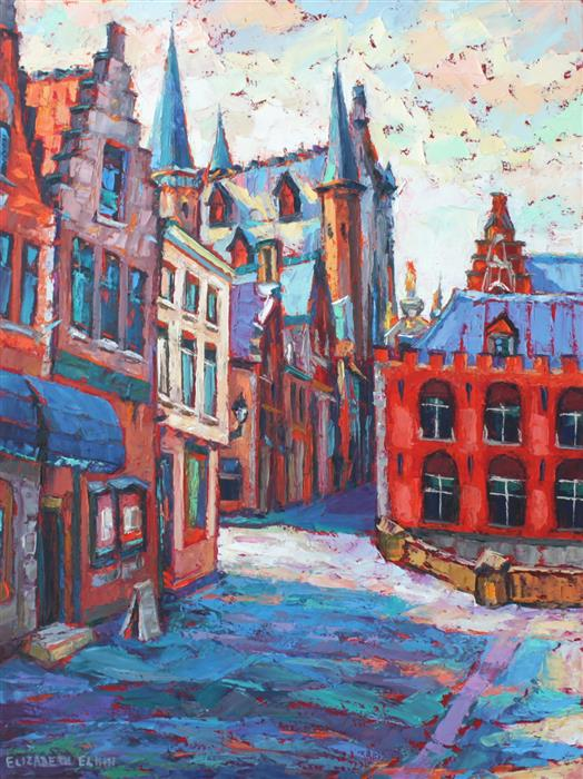 Original art for sale at UGallery.com | Bruges Street View by ELIZABETH ELKIN | $1,525 | Oil painting | 24' h x 18' w | ..\art\oil-painting-Bruges-Street-View