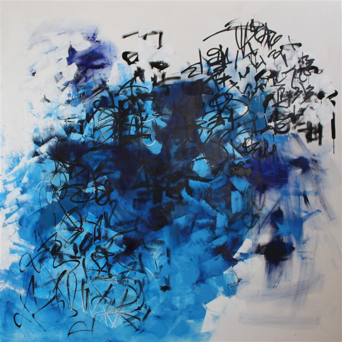 Original art for sale at UGallery.com | Blue Springs by MIA TARDUCCI | $17,000 | Oil painting | 88' h x 88' w | ..\art\oil-painting-Blue-Springs