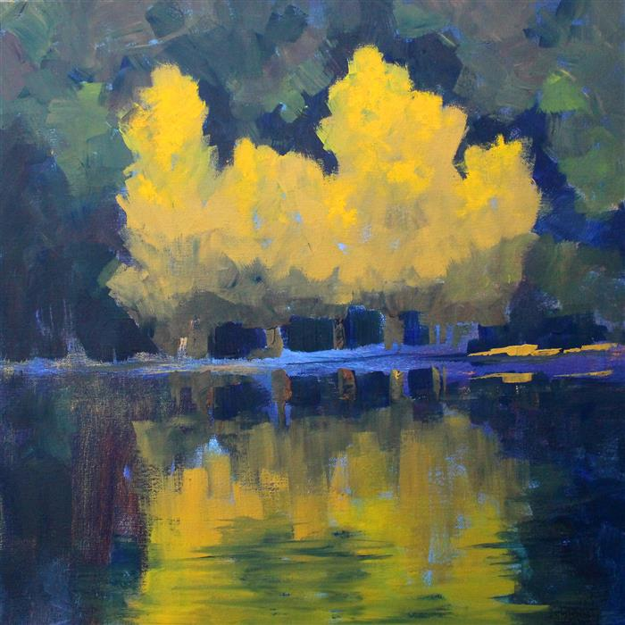 Original art for sale at UGallery.com | Aspen Reflection by NANCY MERKLE | $1,125 |  | 24' h x 24' w | ..\art\acrylic-painting-Aspen-Reflection