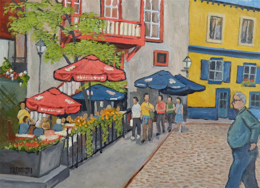 Original art for sale at UGallery.com | Canadian Street by ROBERT  HOLEWINSKI | $1,775 |  | 21' h x 29' w | ..\art\oil-painting-Canadian-Street