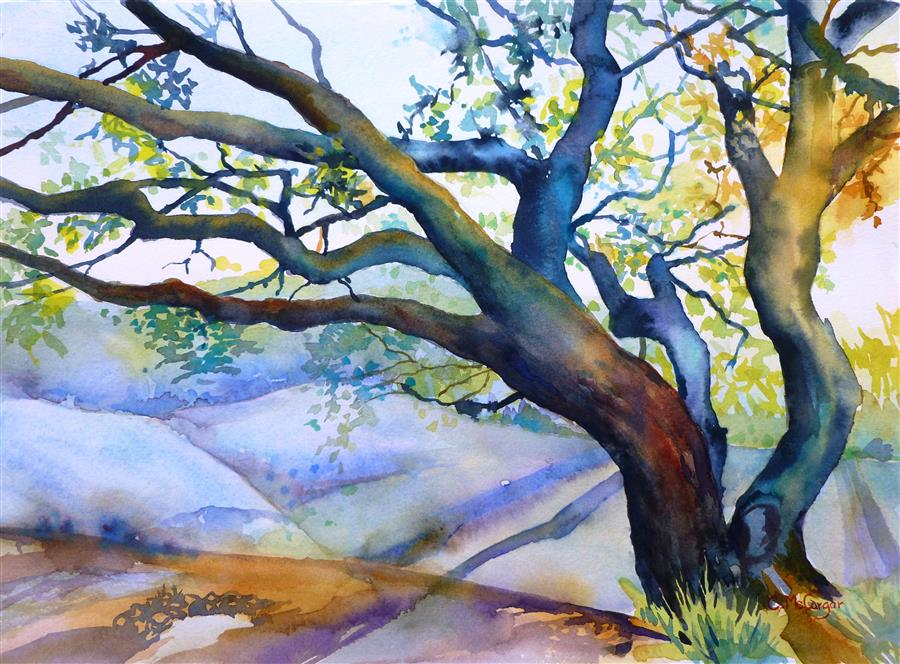Original art for sale at UGallery.com | The Sun Plays with Her by Catherine McCargar | $500 | watercolor painting | 11' h x 15' w | ..\art\watercolor-painting-The-Sun-Plays-with-Her