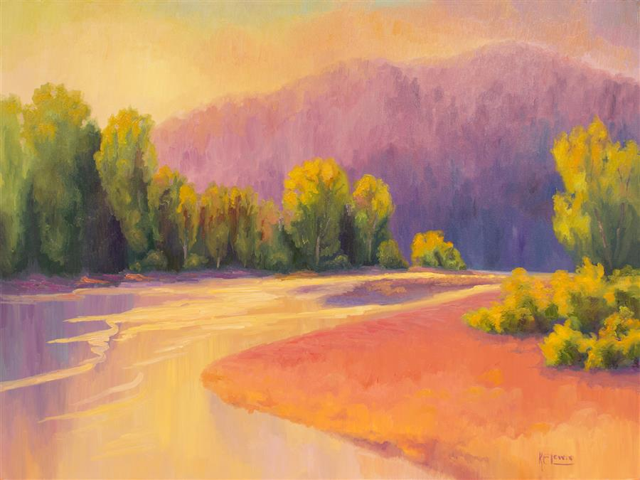 Original art for sale at UGallery.com | Riverbed Aglow by Karen E Lewis | $4,100 | oil painting | 36' h x 48' w | ..\art\oil-painting-Riverbed-Aglow