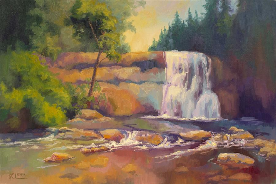 Original art for sale at UGallery.com | Falls and Sunglow by KAREN E LEWIS | $2,400 |  | 24' h x 36' w | ..\art\oil-painting-Falls-and-Sunglow