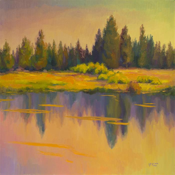 Original art for sale at UGallery.com | Light Across the River  by Karen E Lewis | $2,400 | oil painting | 30' h x 30' w | ..\art\oil-painting-Light-Across-the-River