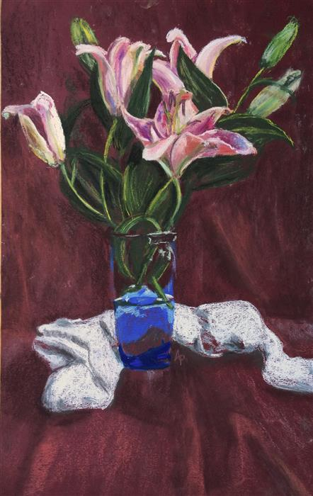 Original art for sale at UGallery.com | Lily Still Life by ANASTASIA PIMENTEL | $375 | Pastel artwork | 19.5' h x 12' w | ..\art\pastel-artwork-Lily-Still-Life