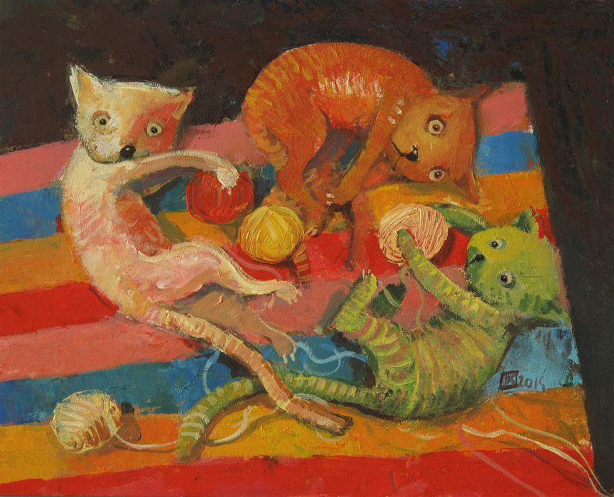 Original art for sale at UGallery.com | Urchins by KRZYSZTOF IWIN | $1,350 |  | 15.75' h x 16.69' w | ..\art\acrylic-painting-Urchins