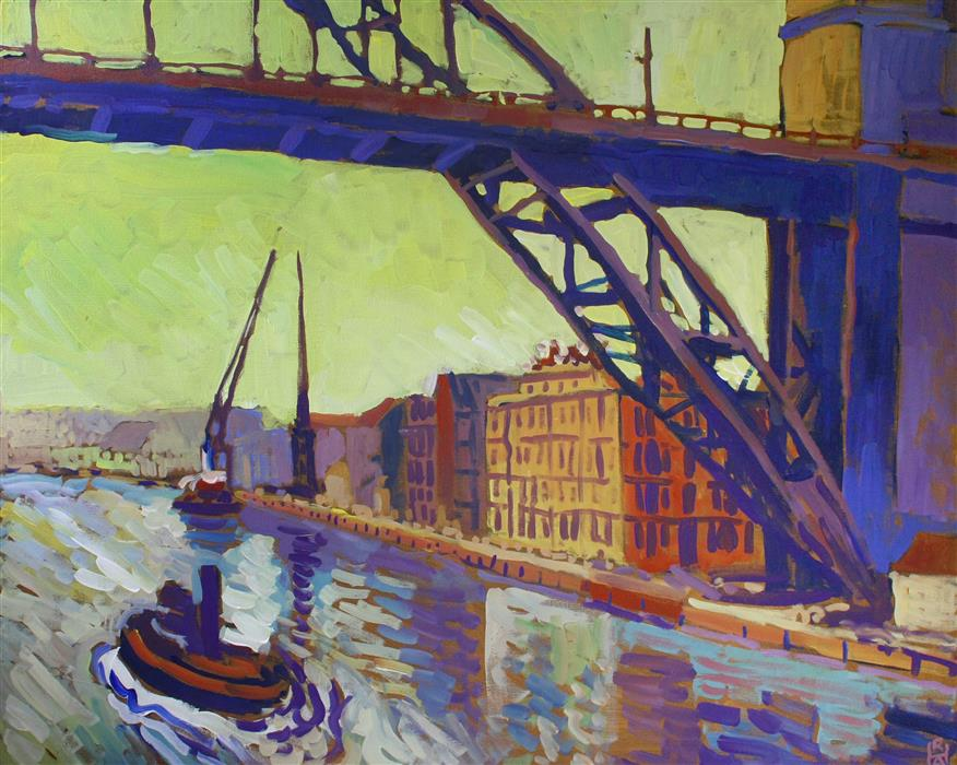 Original art for sale at UGallery.com | In the Shadow of the Bridge by Robert Hofherr | $1,150 | acrylic painting | 24' h x 30' w | ..\art\acrylic-painting-In-the-Shadow-of-the-Bridge