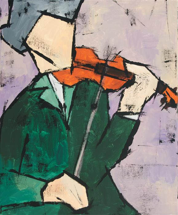 Original art for sale at UGallery.com | Violinist by TANYA GRABKOVA | $1,050 |  | 24' h x 20' w | ..\art\acrylic-painting-Violinist