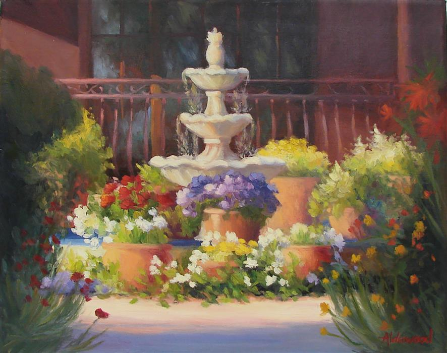 Original art for sale at UGallery.com | Hacienda Fountain by SHERRI ALDAWOOD | $925 |  | 16' h x 20' w | ..\art\oil-painting-Hacienda-Fountain