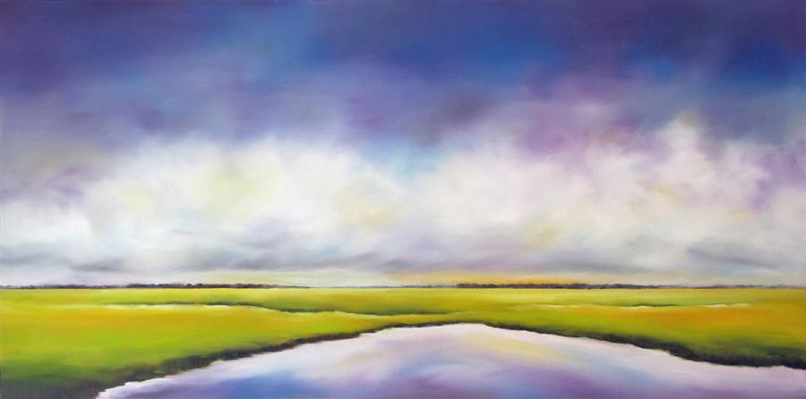 Original art for sale at UGallery.com | Purple Sky Marsh II by NANCY HUGHES MILLER | $1,100 |  | 18' h x 36' w | ..\art\oil-painting-Purple-Sky-Marsh-II