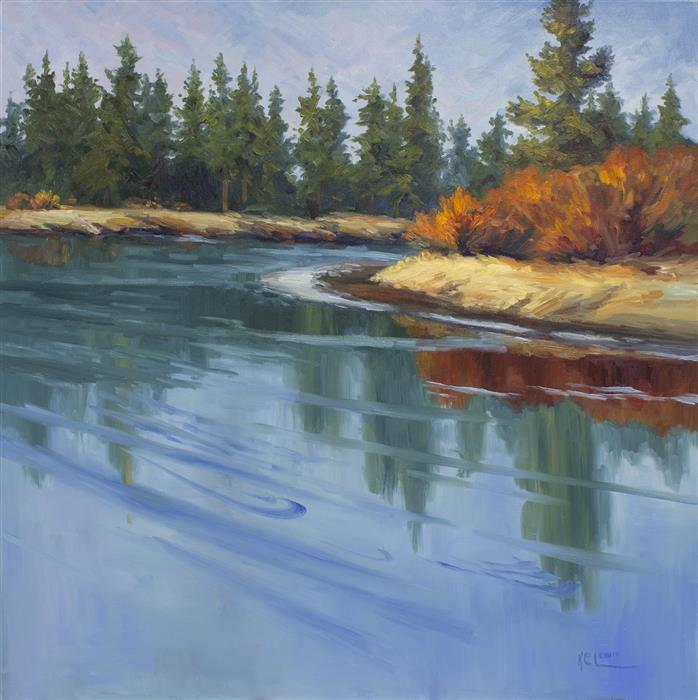 Original art for sale at UGallery.com | Deschutes Willowbank by KAREN E LEWIS | $2,400 |  | 30' h x 30' w | ..\art\oil-painting-Deschutes-Willowbank
