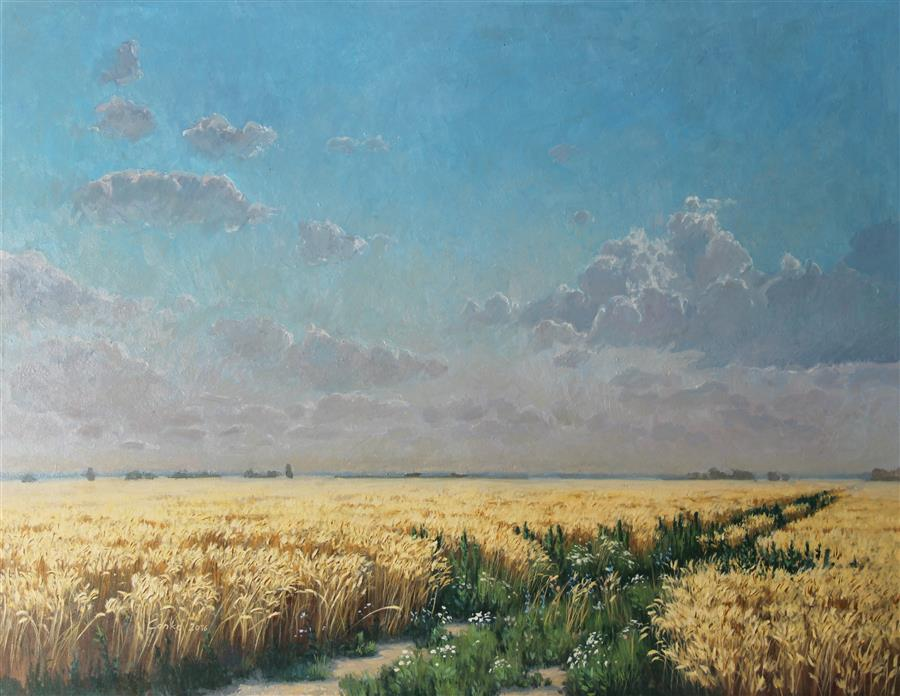 Original art for sale at UGallery.com | Lowland by Stefan Conka | $2,100 | oil painting | 29.1' h x 36.6' w | ..\art\oil-painting-Lowland