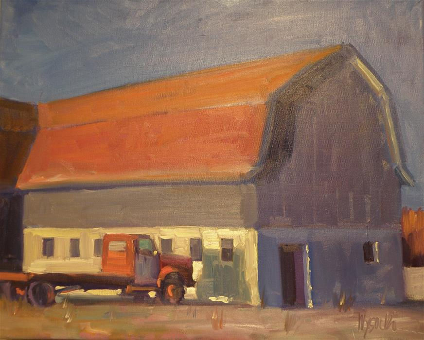 Original art for sale at UGallery.com | Farmer Sunrise by STEPHEN WYSOCKI | $925 | Oil painting | 16' h x 20' w | ..\art\oil-painting-Farmer-Sunrise
