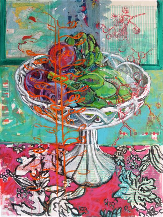 Original art for sale at UGallery.com | Plums and Artichokes by Polly Jones | $2,775 | mixed media artwork | 40' h x 30' w | ..\art\mixed-media-artwork-Plums-and-Artichokes