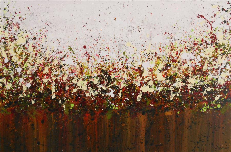 Original art for sale at UGallery.com | Prairie Blossoms by LISA CARNEY | $1,150 |  | 24' h x 36' w | ..\art\acrylic-painting-Prairie-Blossoms