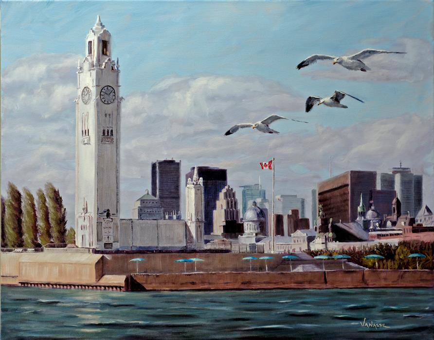 Original art for sale at UGallery.com | Sailing in the Old Port of Montreal by ERIC VANASSE | $1,300 | Oil painting | 24' h x 30' w | ..\art\oil-painting-Sailing-in-the-Old-Port-of-Montreal
