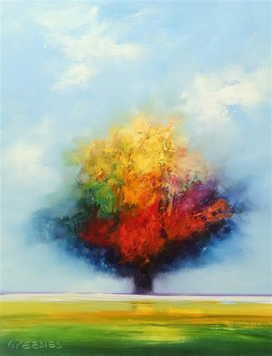 Original art for sale at UGallery.com | Brilliant Tree by GEORGE PEEBLES | $825 | Oil painting | 28' h x 22' w | ..\art\oil-painting-Brilliant-Tree