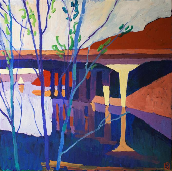 Original art for sale at UGallery.com | Bridge Over Untroubled Waters by Robert Hofherr | $1,075 | acrylic painting | 24' h x 24' w | ..\art\acrylic-painting-Bridge-Over-Untroubled-Waters