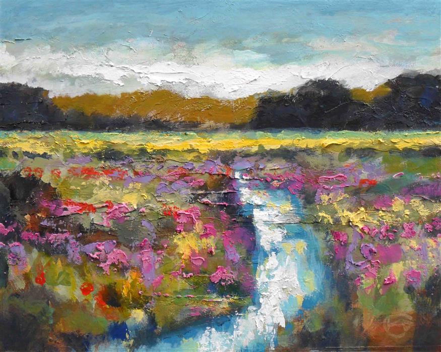 Original art for sale at UGallery.com | Creek in the Field by KIP DECKER | $625 | Acrylic painting | 16' h x 20' w | ..\art\acrylic-painting-Creek-in-the-Field