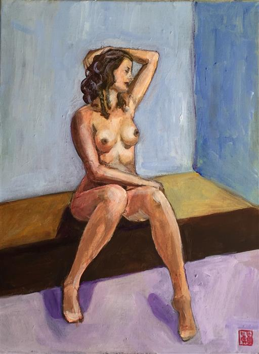 Original art for sale at UGallery.com | Seated Nude Study by LAURA (YI ZHEN) CHEN | $425 |  | 16' h x 12' w | ..\art\acrylic-painting-Seated-Nude-Study