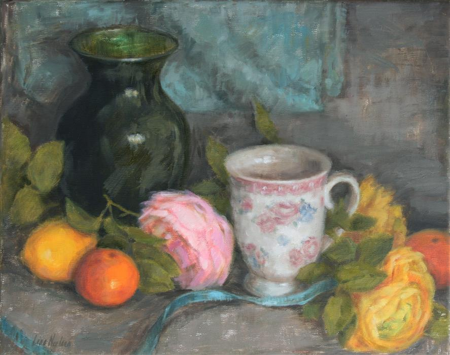 Original art for sale at UGallery.com | Ranunculus and Citrus by Lisa Nielsen | $525 | oil painting | 11' h x 14' w | ..\art\oil-painting-Ranunculus-and-Citrus
