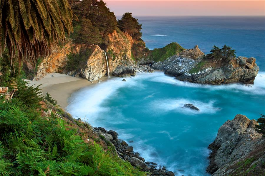 Original art for sale at UGallery.com | McWay Falls Sunset by Katherine Gendreau | $25 | photography | 18' h x 12' w | ..\art\photography-McWay-Falls-Sunset