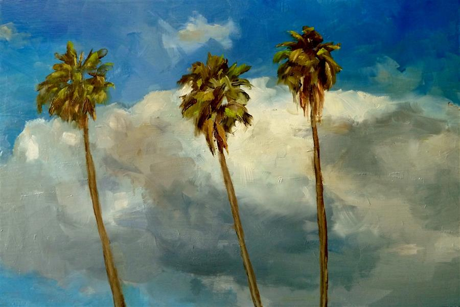 Original art for sale at UGallery.com | Hollywood Sky by GARY BRUTON | $650 |  | 12' h x 18' w | ..\art\oil-painting-Hollywood-Sky
