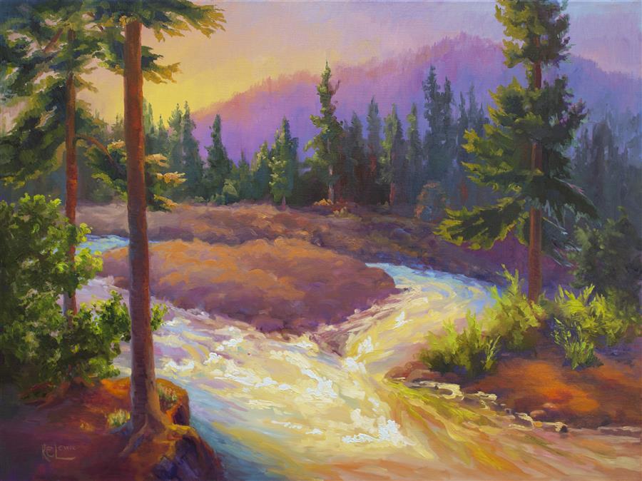 Original art for sale at UGallery.com | Sundown on East Fork Hood River by Karen E Lewis | $3,075 | oil painting | 30' h x 40' w | ..\art\oil-painting-Sundown-on-East-Fork-Hood-River