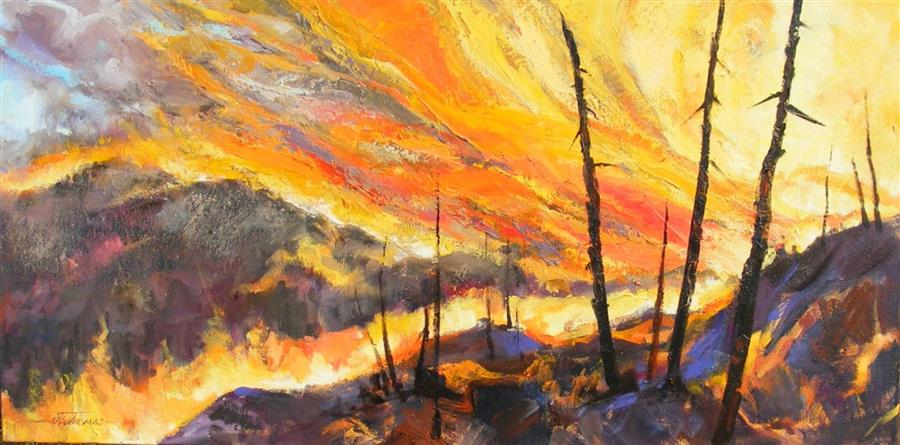Original art for sale at UGallery.com | The Fires of Summer by JEAN W. THOMAS | $925 | Oil painting | 18' h x 36' w | ..\art\oil-painting-The-Fires-of-Summer