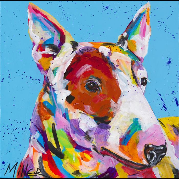 Original art for sale at UGallery.com | Bull Terrier by TRACY MILLER | $375 |  | 12' h x 12' w | ..\art\acrylic-painting-Bull-Terrier