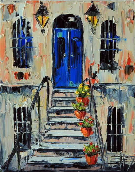 Original art for sale at UGallery.com | Une Maison de Paris by LISA ELLEY | $350 | Oil painting | 10' h x 8' w | ..\art\oil-painting-Une-Maison-de-Paris