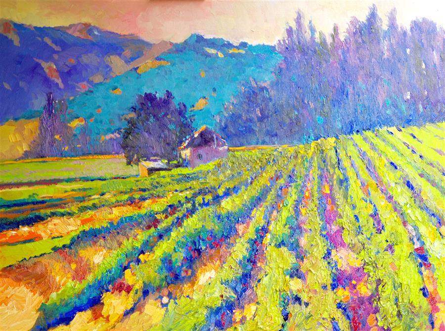 Original art for sale at UGallery.com | Evening in Vineyards by SUREN NERSISYAN | $2,200 | Oil painting | 30' h x 40' w | ..\art\oil-painting-Evening-in-Vineyards