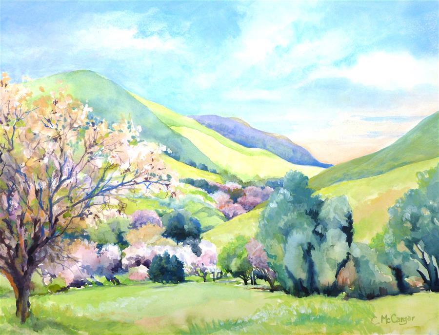 Original art for sale at UGallery.com | Blossom Time in the Valley by CATHERINE MCCARGAR | $575 |  | 12' h x 16' w | ..\art\watercolor-painting-Blossom-Time-in-the-Valley