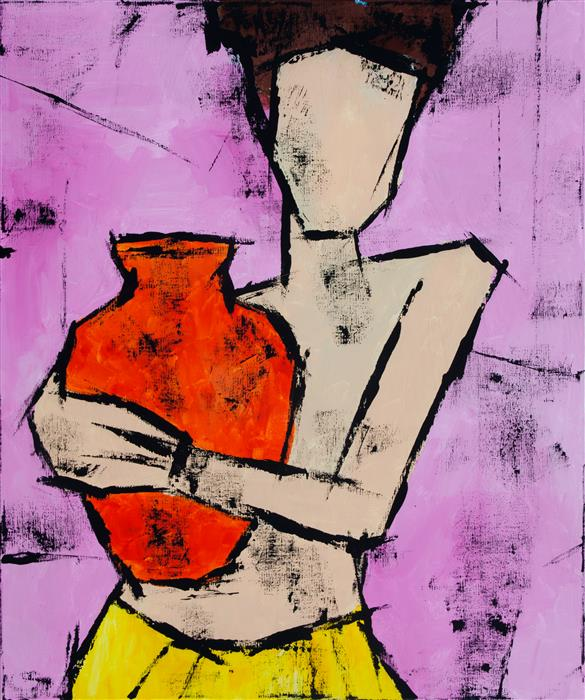 Original art for sale at UGallery.com | Girl with a Jug by TANYA GRABKOVA | $1,050 |  | 24' h x 20' w | ..\art\acrylic-painting-Girl-with-a-Jug
