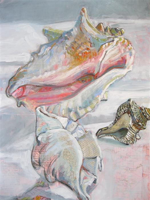 Original art for sale at UGallery.com | Seashells and Mermaids by Polly Jones | $1,300 | mixed media artwork | 24' h x 18' w | ..\art\mixed-media-artwork-Seashells-and-Mermaids